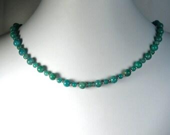 "Amazonite Necklace Silver 18"""