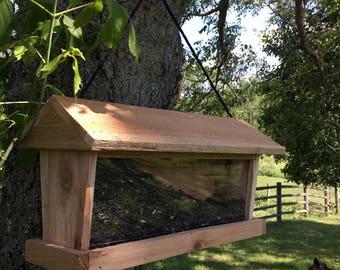 Cedar Bird Feeder with viewing Window