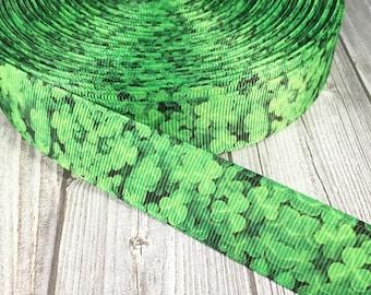 "Shamrock ribbon - 7/8"" Grosgrain ribbon - Green ribbon - St. Patrick's day - St. Patty's day ribbon - Holiday ribbon - Headband ribbon"