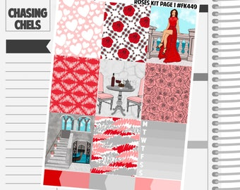 Roses Collection #FK449-455 Premium Matte Planner Stickers