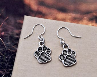 Paw Jewelry, Dog Paw earrings, Cat Paw Charm, Animal Paw Pendant, Animal Lover Gift, Dog Lover Gift, Cat Lover Gift