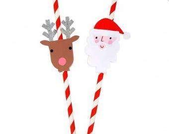 Meri Meri Christmas party straws  Christmas cupcake topper. Christmas party decor. Christmas tableware. Christmas party. Santa toppers