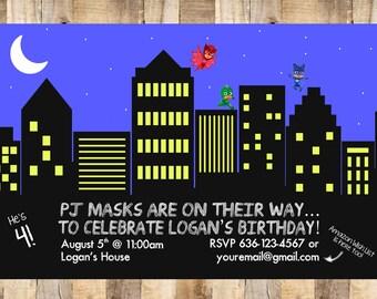 PJ Mask Birthday Invitation, Digital File