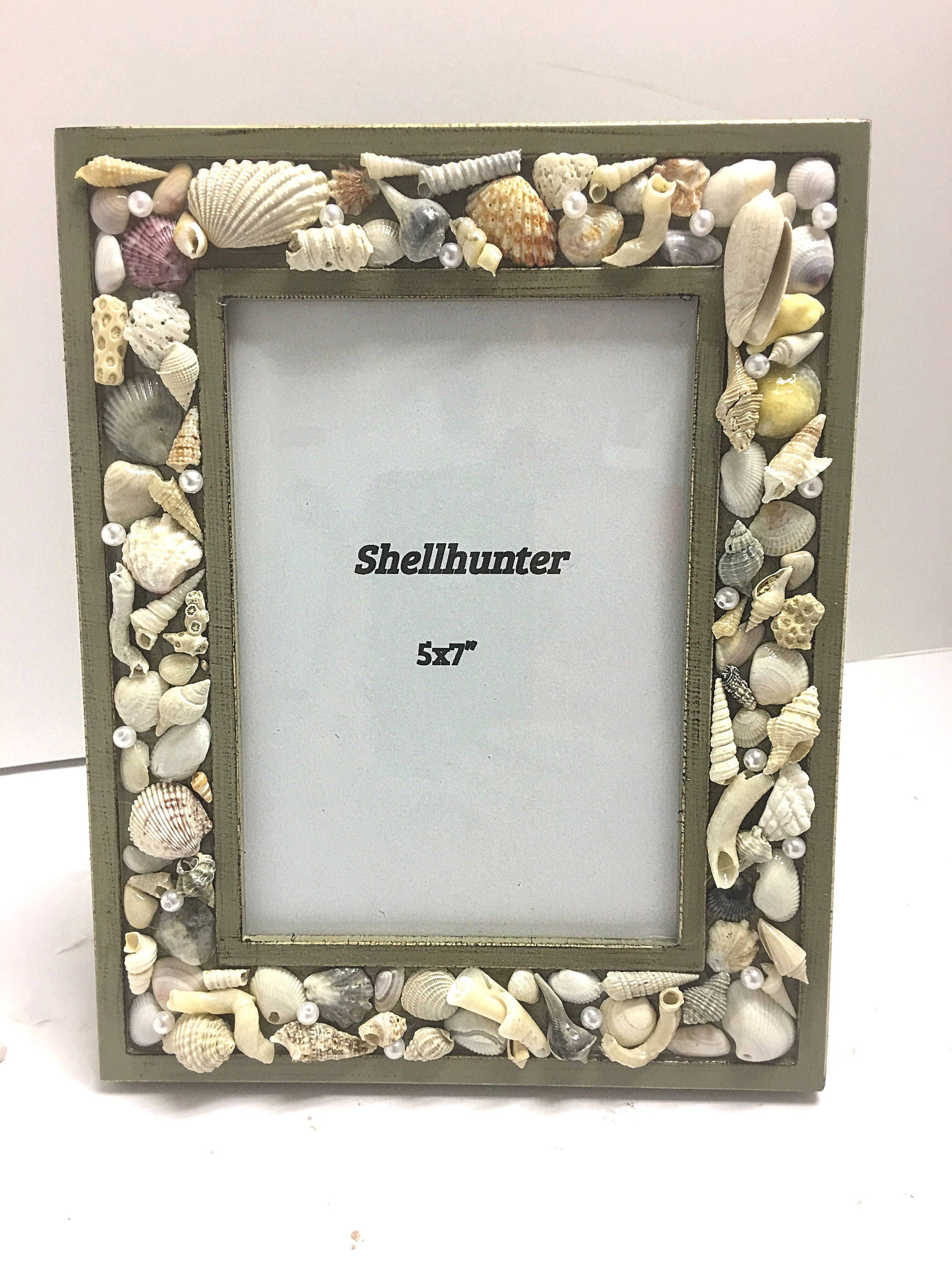 Beach frame 5 by 7 photo frame in olive green with seashells and beach frame 5 by 7 photo frame in olive green with seashells and pearl accents sturdy and made in usa jeuxipadfo Image collections