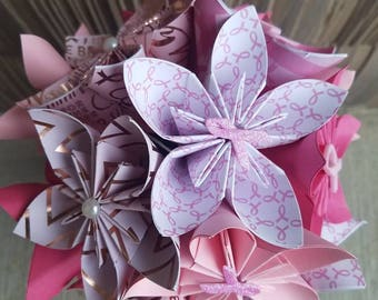 Breast cancer flowers, pink flowers, paper flowers, cancer survivor flowers, breast cancer decor