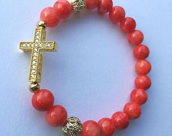 Coral and Gold Stretchy Cross Bracelet
