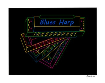 "Blues Harp - 15.5"" x 12.5"" print from an original ink drawing"