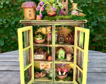 Fairy garden cabinet, woodland miniature, dollhouse cupboard and accessories