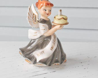 Vintage Happy Anniversary Angel Girl in Black Dress Holding Cake-6822-Lefton-Napco-Bride-Wedding-Party