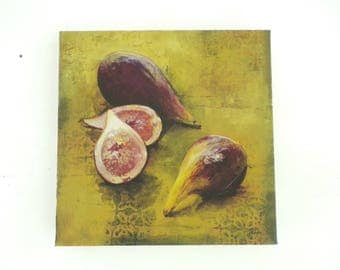 Vintage 90s Fig Print Giclee Canvas, Fruit Picture, Figs Print, Kitchen Wall Art, Green Purple Print, Contemporary Fig Art, Food Art Print