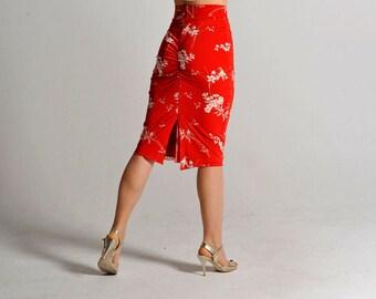 CLARA cherry blossom slit skirt - sizes XS/S/M