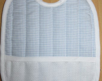 Bib with embroidered blue gingham
