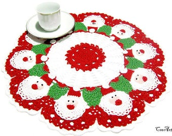 Crochet Christmas Doily with Santa Claus, Original Christmas Doily, Centrino Natale