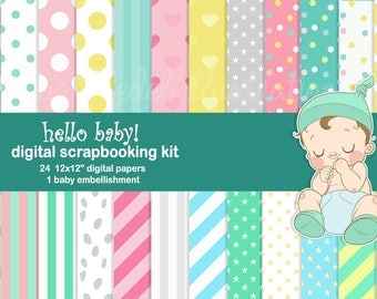 BABY SCRAPBOOKING KIT (boy and girl)- 24 digital papers and 1 embellishment. Instant download