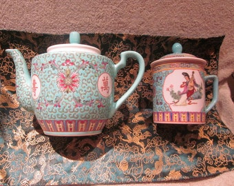 Mun Shou Chinese Vintage 1960s Teapot and Tea Mug Outstanding Hand Painted Details with  Red China Mfg Markings
