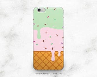 Melting Ice Cream, iPhone Case, iPhone 5 5S 5SE 6 6S 7 7S Plus, Summer Food, Sprinkle Dessert, Mint Green Pink, Waffles, Sweet Tooth