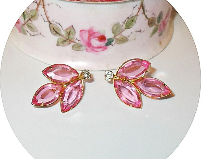 Vintage 70s Pink Gold Leaf Floral Rhinestone Womens Clip On Huggie Earrings