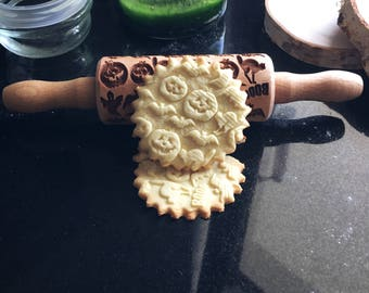 HALLOWEEN, SMALL rolling pin, embossing rolling pin, engraved rolling pin by laser