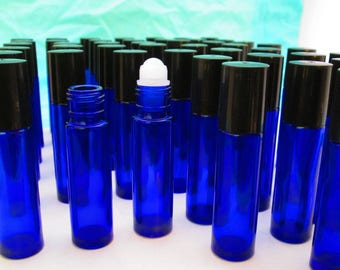 Choose Set Cobalt Glass Roll-on 10ml bottle You Choose Roller Ball and Cap Color Essential Oil UV-Protected Perfume