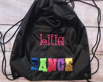 Dance Bag - Personalized Dance Bag - Ballet Bag - Girls Dance Bag - Drawstring Bag - Wild About Dance