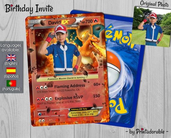 Pokémon Card Fire, Pokemon Invitation Fire, Pokemon Birthday Invite, Pokemon Party, Pokemon GO - Digital File
