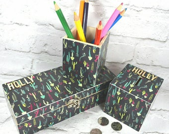 Cactus Jewellery Box with matching Money box & Pencil Pot. Mother's Day Gift for Cacti loving Mums! Free Gift Wrapping