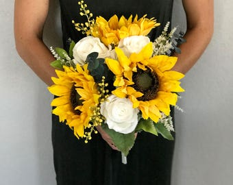 Sunflower Country - Bridesmaid Bouquet - Faux Flowers