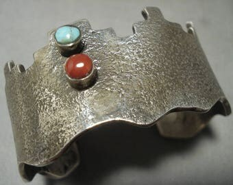Museum Navajo 'Pueblo And Snake Eye Turquoise Coral' Silver Bracelet