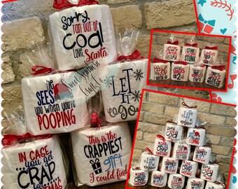 BUY5Get1FREE***Christmas Toilet Paper, Funny Gag Gift Toilet Paper White Elephant, Secret Santa, Girlfriends Gift, Humorous, Adult Gift