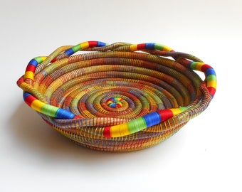 Woven Basket, Pine Needle Basket,Rustic Basket, Home Decor, Home Art, Pine Bowl, Bowl, Rustic Bowl, Rustic Basket, Multicolor Basket