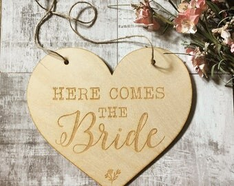 Here comes the bride, flower girl sign, bridesmaid sign, daddy here comes mummy, pageboy sign, save the date, engraved wooden sign, page boy