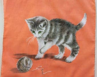 Kitten With Yarn Ball Vintage Hankie