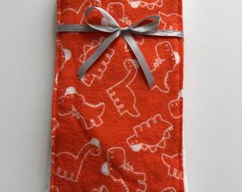 Orange Dinosaurs Single Burp Cloth
