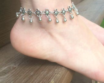 Tibetan Ankle Chain - Tibetan Anklet - Body Jewelry - Antique Silver - Ankle Bracelet - Gift for her - Christmas Gift - Beach Jewelry - BFF