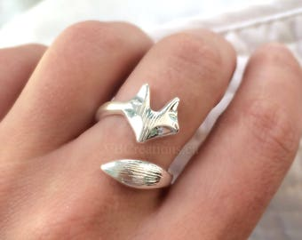 Fox Ring - Ajustable Ring - Fox Jewelry - Dainty Ring - Minimalist Ring - Minimalist Jewelry - Gift for Her - Christmas Gift - Sister Gift