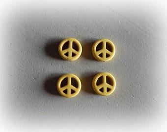 4 beads howlite Dragon yellow diameter 15 mm