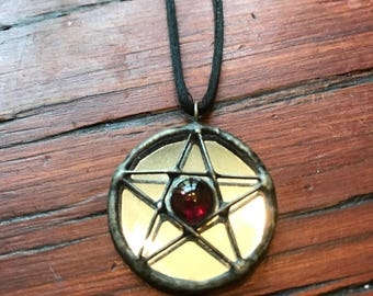 Vintage 90s Mirrored Pentacle Necklace