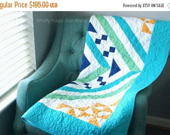 ON SALE Blue Throw Quilt, Modern Green Blue Lap Quilt, Living Room Throw, Lap Blanket, Pastel Decor, Spring Throw Quilt, Easter Quilt