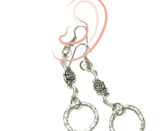 Silver Rose and Circle Drop Earrings, Silver Day Earrings, Silver drop Earrings, Gal Pal Gift, On Trend Earring Gift, Free Local Shipping