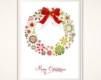 Wreath Print - Printable Christmas Wreath, Merry Christmas, Christmas Art, Christmas Poster, INSTANT Download, Wall Art Decor Holiday