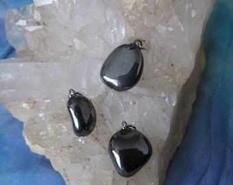 Hematite Pendant, Hematite Crystal Pendant, Hematite Charm, Hematite Tumbled Pendant, Hematite, Hematite Tumbled, Hematite Stone