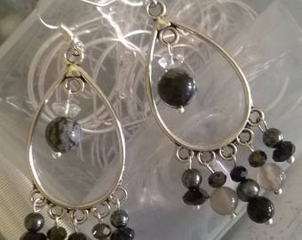 Snowflake earrings and Onyx