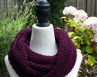 Double-wrap infinity scarf. Dark plum cowl, 100% Australian wool,  snood, neck warmer, winter accessories. Hand Knitted. MADE TO ORDER.