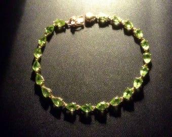 Sparkling 10k Gold Peridot Bracelet