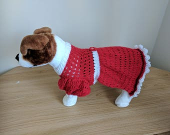 Hand Knitted Red and White Sparkly Dog Party Dress