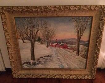 Fantastic Rural Penna O/C Landscape -- Winter Scene - Signed LR 1940s/50s
