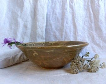 Antique french ochre glazed pottery bowl. French country farm pottery. Primitive handmade pottery bowl. Rustic kitchen bowl. Confit bowl