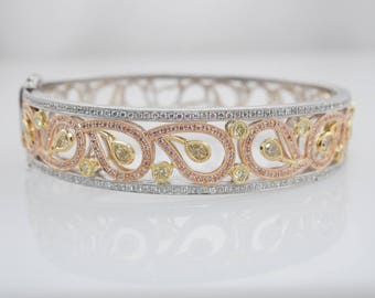 2CT Fancy Pink Diamond Fancy Yellow Diamond White Diamond Paisley Bangle Diamond Bracelet White Gold Rose Gold Yellow Gold bridal bracelet