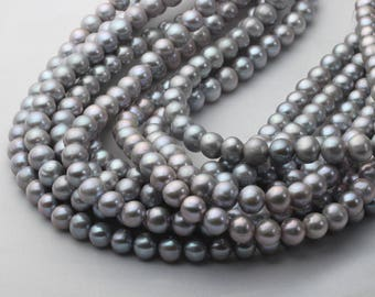 8.5-9.5mm Near Round Gray Fresh Water Pearl Necklace Strand, AA quality