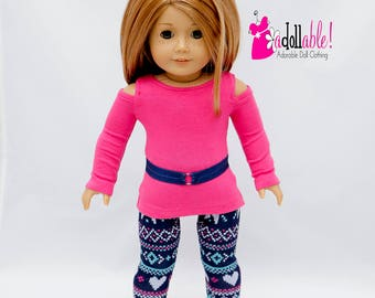 American made doll clothes,18 inch Doll Clothing, Open Shoulder Top, Navy Blue/Pink Leggings made to fit like American girl doll clothes
